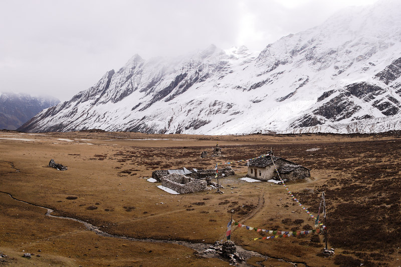 Pungyen gompa on the Manaslu trail. 3 picture pano.