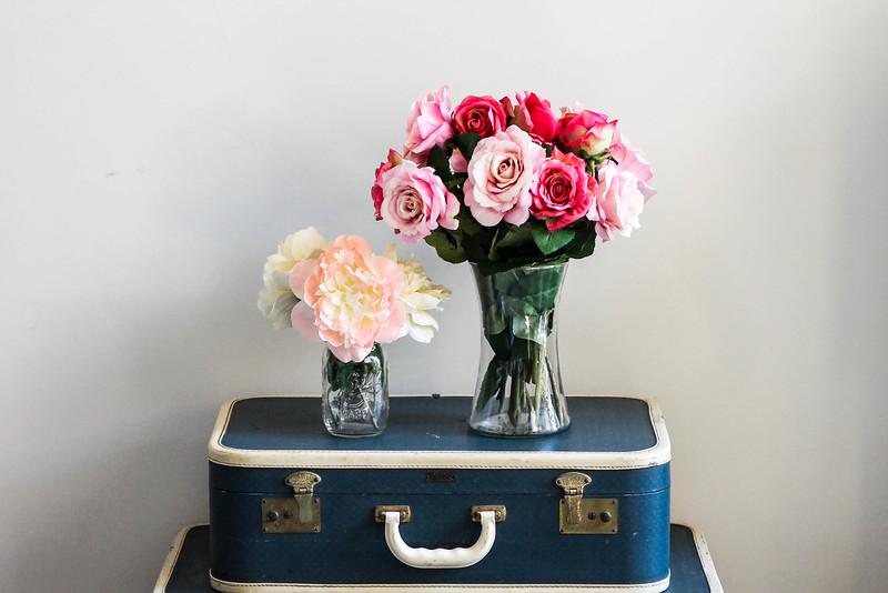silk flowers & mason jars