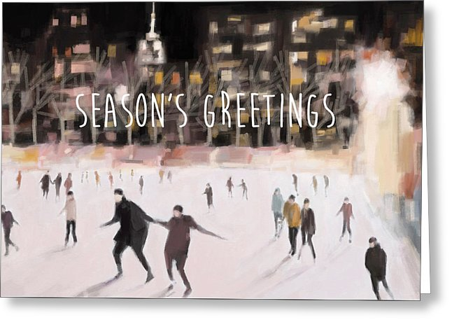 Skating In Bryant Park New York City Holiday Greeting Card by Artist Beverly Brown
