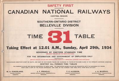 CNR Belleville ETT 1934 April 29