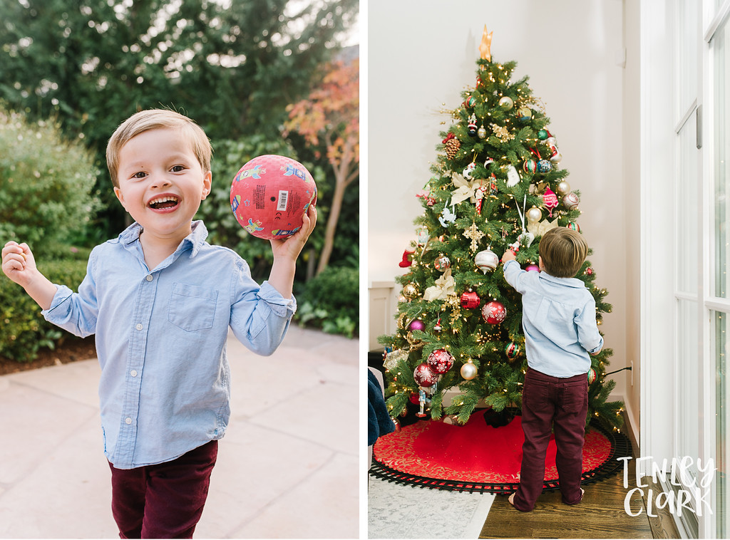 Boy playing with ball and hanging ornaments on tree. Lifestyle in-home family photoshoot in Marin, CA by Tenley Clark Photography.