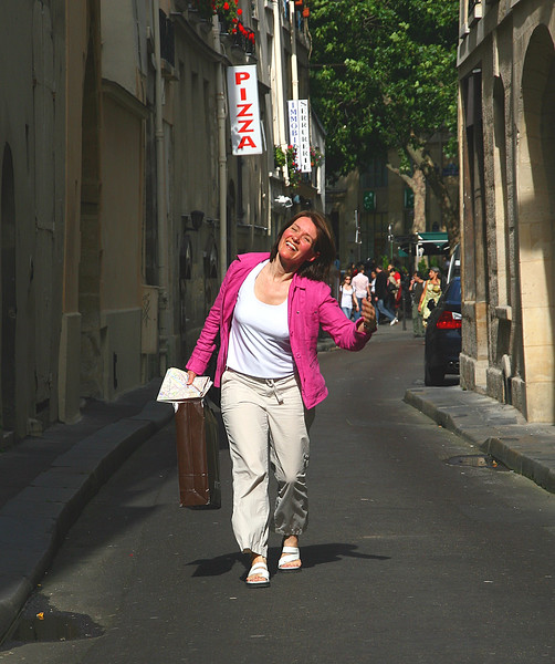 I'm so happy to be in Paris,  I feel like skipping!