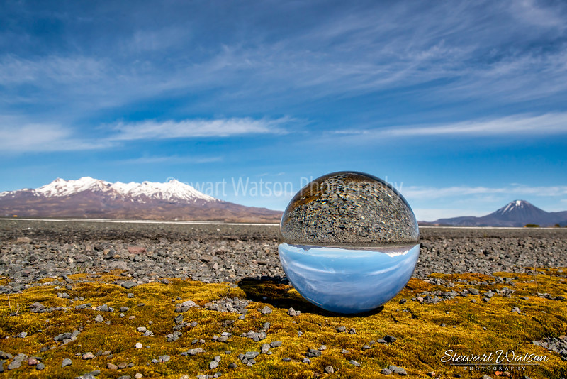 The Central Plateau volcanoes reflected in a crystal ball on the way home from a quick return trip to Cape Reinga