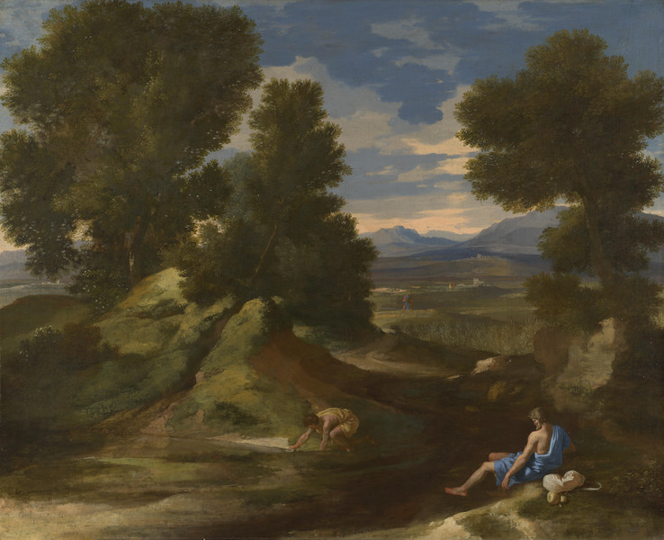 Landscape with a Man scooping Water from a Stream