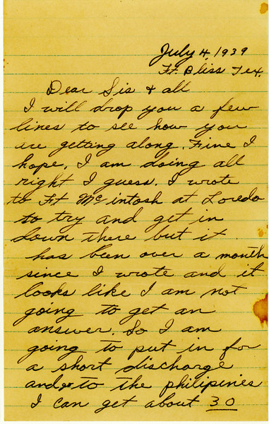 WWII era letter from Clyde Wasson