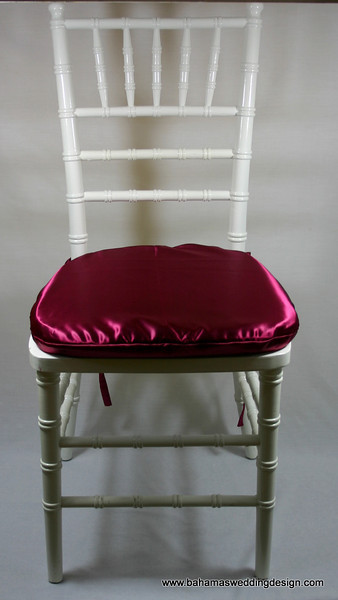 Satin Chair Pad Cover - Burgundy