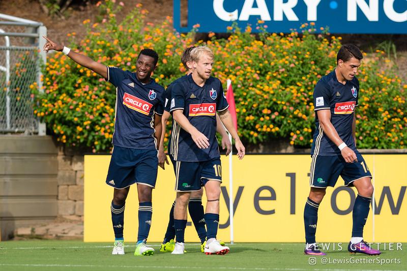 North Carolina FC midfielder Tiyi Shipalane (22) celebrates his goal