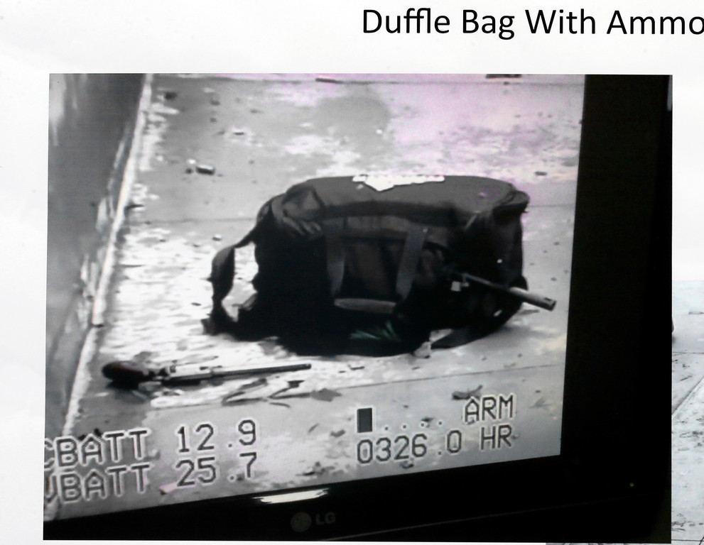 . An evidence photo showing a duffle bag with ammunition is among several new evidence photos of the June 9 shooting rampage by John Zawahri that were released by the Santa Monica, Calif.,  Police Department at a news conference Thursday, Thursday, June 13, 2013. (AP Photo/Santa Monica Police)
