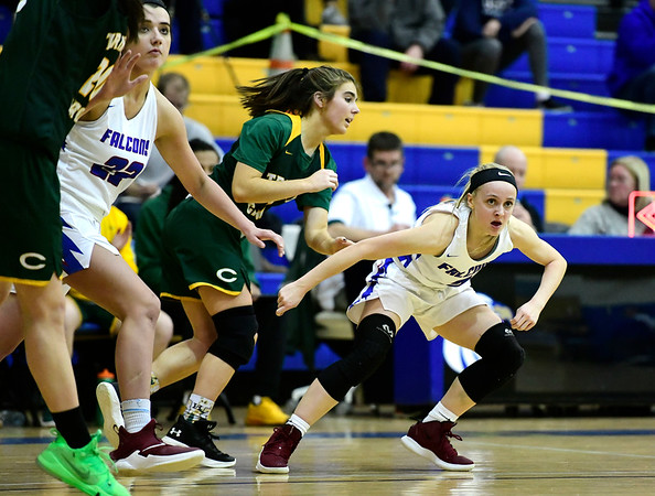 3/8/2019 Mike Orazzi   Staff St. Paul Catholic High Schools Kailyn Bielecki (2) during the Class S Semifinal girls basketball game with Trinity Catholic at Newtown High School Friday night in Newtown.