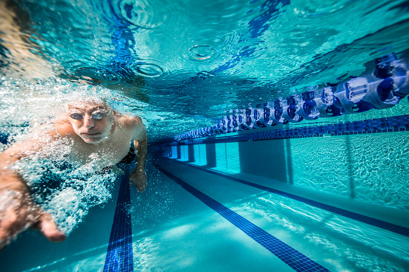 Underwater image of a lap swimmer exercising.