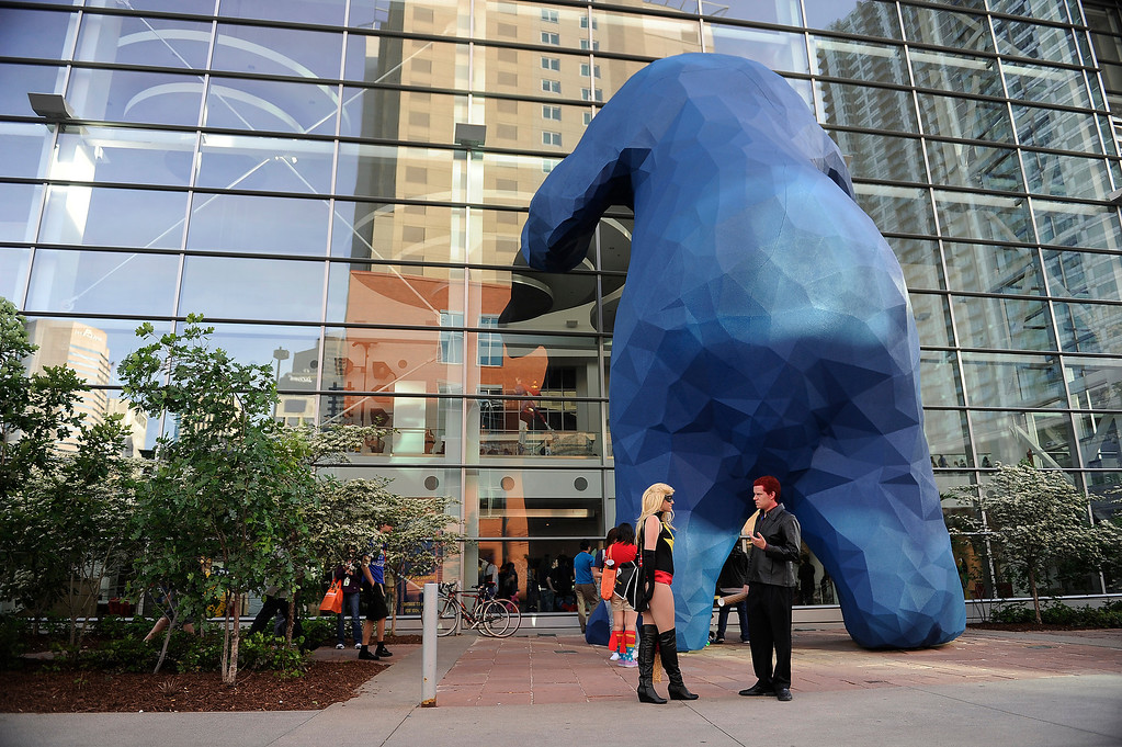 . DENVER, CO - MAY 31: Convention goers mill about outside of the Colorado Convention Center during Denver Comic Con on May 31, 2013 in Denver, Colorado. (Photo by Seth McConnell/The Denver Post)