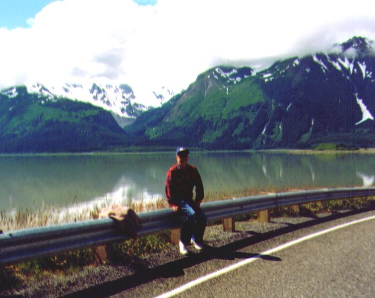 Wayne on road by Chilkat Inlet, Haines, AK, June 1988  .jpg
