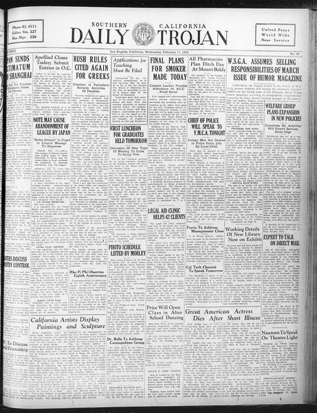 Daily Trojan, Vol. 23, No. 90, February 17, 1932