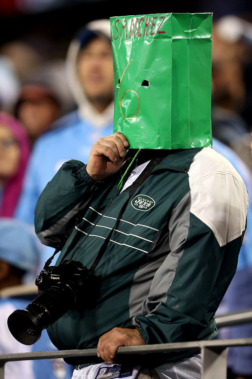 . NASHVILLE, TN - DECEMBER 17:  A New York Jets fans wears a green bag over his head with Sanchez and the #6 on it against the Tennessee Titans at LP Field on December 17, 2012 in Nashville, Tennessee.  (Photo by Andy Lyons/Getty Images)