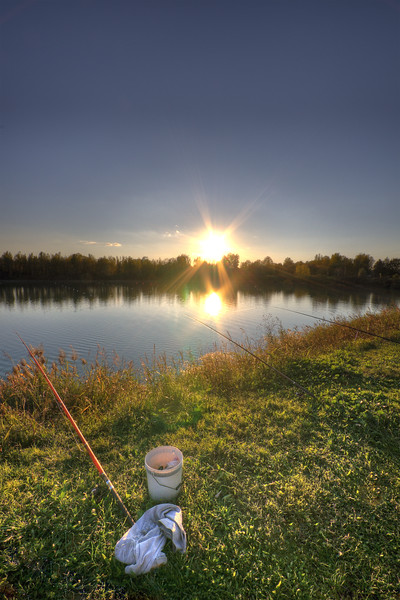 Fishing at Sunset - Secchia River Detention Basin, Campogalliano, Modena, Italy - October 29, 2012