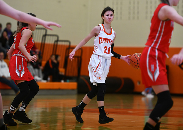 12/26/2019 Mike Orazzi | StaffrTerryville High School's Amy Roqi (21) during Thursday's girls basketball game with Northwestern in Terryville.