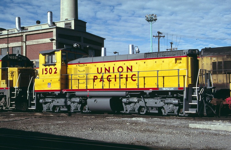 UP SW1500 1502; ex WP 1502. Salt Lake City. May 22, 1984. (Don Strack Photo)