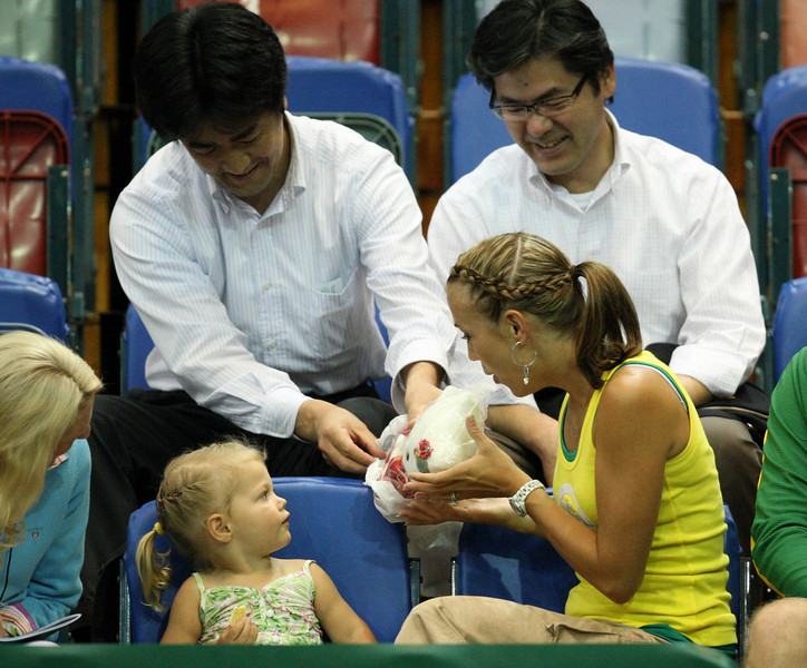 11 March 2008 Townsville, Qld, Australia - Mia Hewitt was presented with a gift of a teddy bear from Lleyton's Yonex sponsors before play got underway in the Davis Cup tie between Thailand and Australia - Photo: Cameron Laird (Ph: 0418 238811)