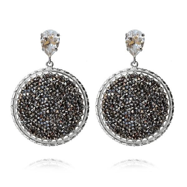 Alexandra Crystal Rocks Earrings / Metallic Light Gold / Rhodium