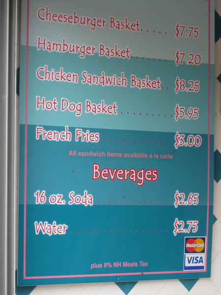 "Be-Bop Diner menu sign. It says ""All sandwich items available a la carte."""