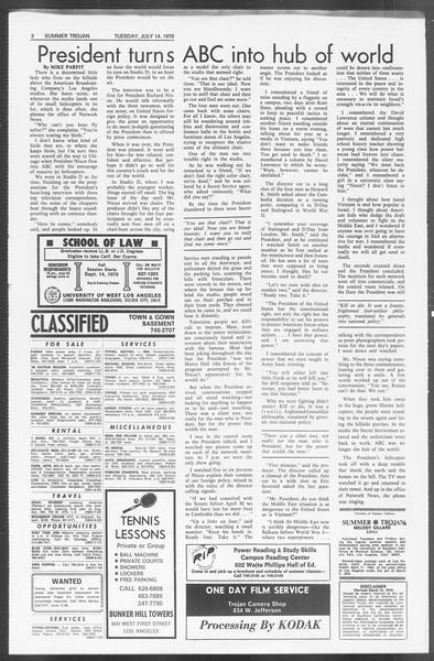 Summer Trojan, Vol. 62, No. 7, July 14, 1970