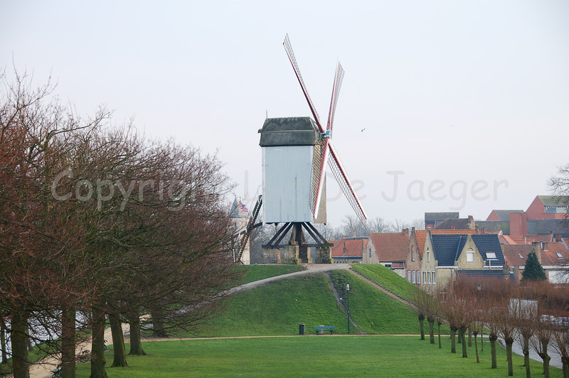 The first mill, counting from the Kruispoort, along the Kruisvest in Bruges (Brugge), Belgium. The mill is named the Bonne-Chièremolen (built in 1844).