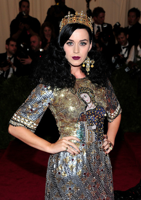 """. Katy Perry attends The Metropolitan Museum of Art\'s Costume Institute benefit celebrating \""""PUNK: Chaos to Couture\"""" on Monday May 6, 2013 in New York. (Photo by Charles Sykes/Invision/AP)"""