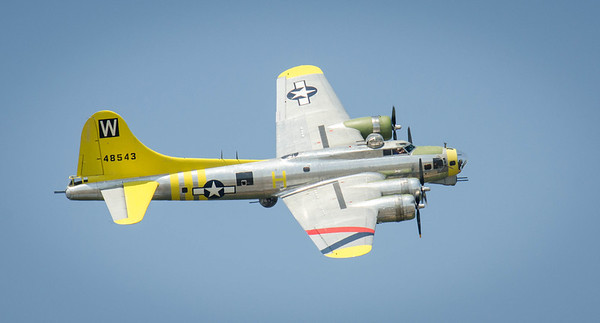 This is a B17 G World War II Bomber.  This was my only picture of this plane as he was finishing his show and I should have listened to my friend Arnold Dubin who told me to use a slow shutter speed so the propellers are not frozen.