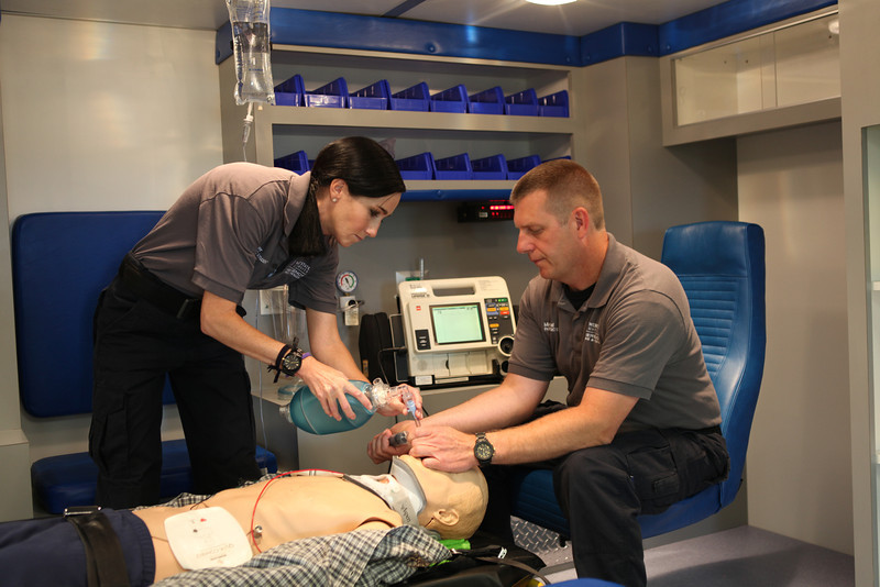 Students practice in ambulance
