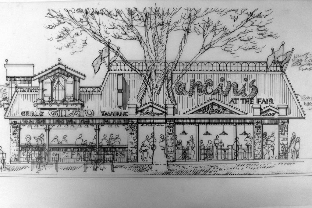 . A rendering shows what the new Mancini\'s food building being built on the Minnesota State Fair grounds will look like. The building is expected to be completed for the 2013 Fair. Courtesy image.