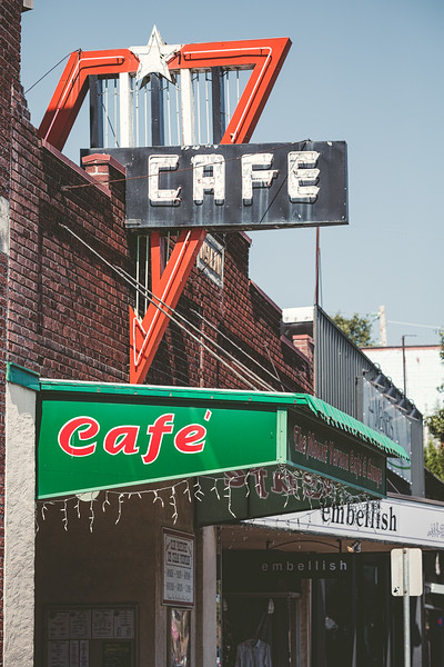 Outdoor signage for The Mount Vernon Cafe & Lounge, Skagit, Washington.