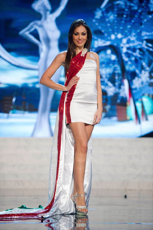 . Miss Italy Grazia Pinto performs onstage at the 2012 Miss Universe National Costume Show at PH Live in Las Vegas, Nevada December 14, 2012. The 89 Miss Universe Contestants will compete for the Diamond Nexus Crown on December 19, 2012. REUTERS/Darren Decker/Miss Universe Organization/Handout