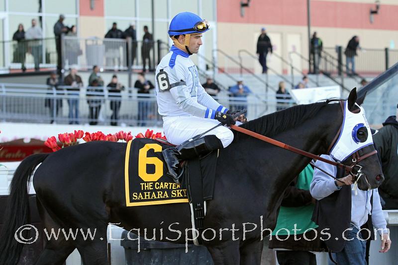 Sahara Sky (Pleasant Tap) and jockey Corey Nakatani before the Carter (Gr I) at Aqueduct Racetrack 4/5/14. Trainer: Jerry Hollendorfer. Owner: Jerry Hollendorfer & Kim Lloyd