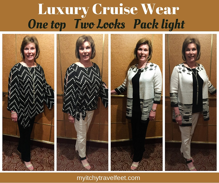 Luxury cruise wear that packs light. One top, two looks.