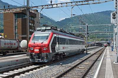 Diesel powered track measurement unit approaches Arth Goldau from the South 2