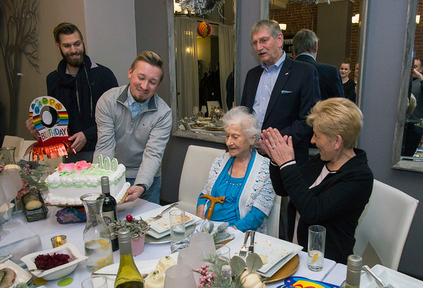 01/10/20 Wesley Bunnell | StaffrrAnne Durant , who turned 100 on January 2nd, celebrated her 100th birthday with a party at Belvedere Restaurant on Friday evening with special guests State Senator Gennaro Bizzarro and Lt. Gov. Susan Bysiewicz. From the Heart Homecare's David Karwoski holds the birthday cake Durant is sung happy birthday by everyone including former mayor Lucian Pawlak and From the Heart Homecare's Eva Puzio, R.
