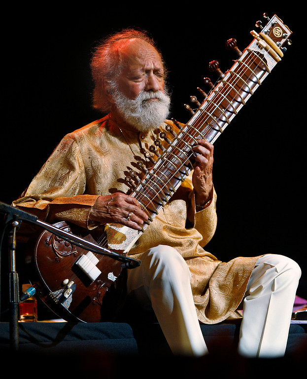 . FILE - In this Feb. 7, 2012 file photo, Indian musician and sitar maestro Pandit Ravi Shankar, 92, performs during a concert in Bangalore, India. Shankar, the sitar virtuoso who became a hippie musical icon of the 1960s after hobnobbing with the Beatles and who introduced traditional Indian ragas to Western audiences over an eight-decade career, died Tuesday, Dec. 11, 2012. He was 92. (AP Photo/Aijaz Rahi, File)
