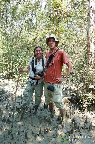 Audrey and Dan Trekking Through Mangrove Forests - Sundarban, Bangladesh