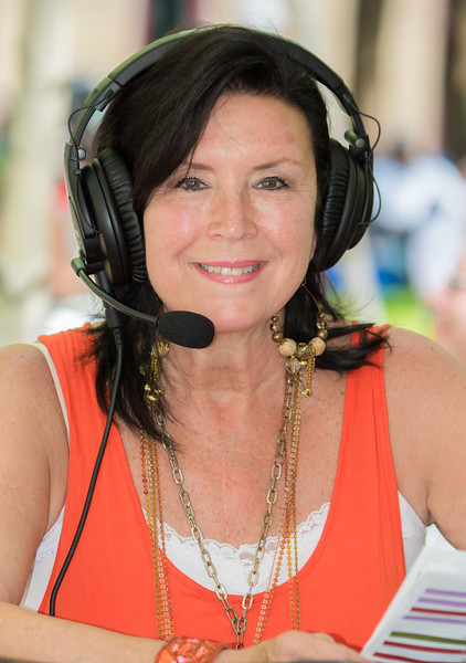 Patty Peterson on the air, KBEM Jazz 88 FM--17th Annual Twin Cities Jazz Festival 2015-Mears Park, St. Paul MN.