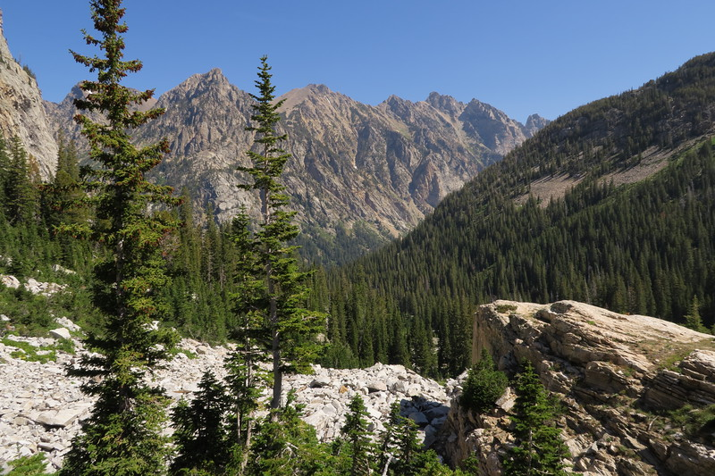 Looking down South Cascade Canyon toward the junction with North Cascade Canyon