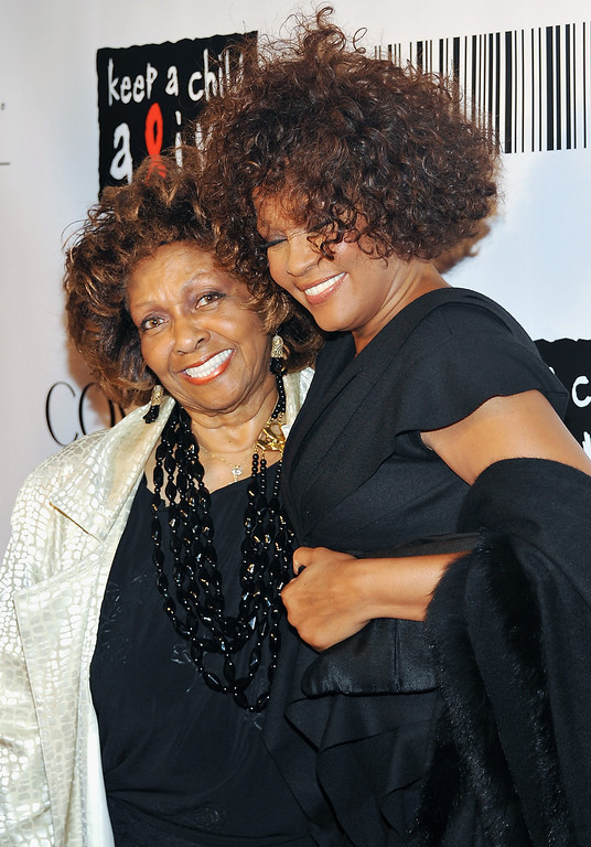 ". In this Sept. 30, 2010 file photo, singers Cissy Houston, left, and her daughter Whitney Houston arrive at the ""Keep A Child Alive Black Ball\"" at the Hammerstein Ballroom in New York.  (AP Photo/Evan Agostini, file)"