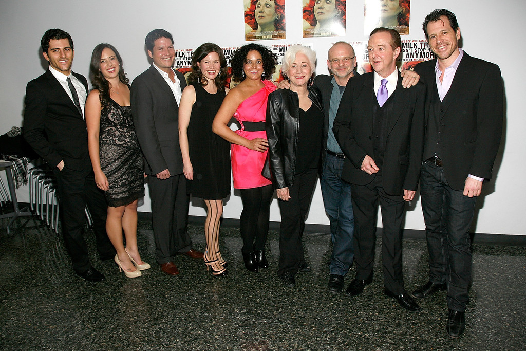 ". NEW YORK, NY - JANUARY 30:  (L-R) Kevin Fugaro, Amanda Tudor, Curtis Billings, Maggie Lacey, Elisa Bocanegra, Olympia Dukakis, director Michael Wilson, Edward Hibbert and Darren Pettie attend the Broadway opening night of ""The Milk Train Doesn\'t Stop Here Anymore\"" at the Laura Pels Theatre on January 30, 2011 in New York City.  (Photo by Andy Kropa/Getty Images)"