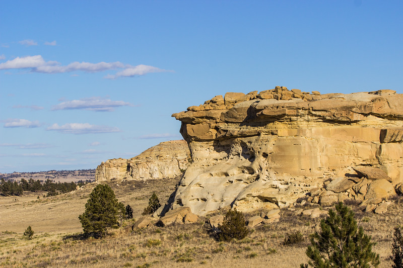 Sandstone rock formations just south of Colstrip