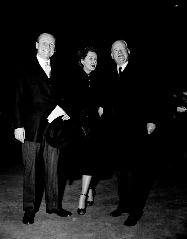 . Former President Herbert Hoover, right, the last Republican in the White House, arrives at the Capitol stand in Washington, Jan. 20, 1953, with Sen. William F. Knowland (R-Calif.) and his wife Helen, at the inauguration of Dwight D. Eisenhower as 34th president of the United States. (AP Photo)
