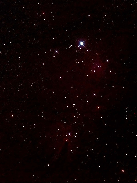 NGC2264 Christmas Tree Cluster and Cone Nebula - 21/11/2011 (Processed Cropped Stack)  My first night using the borrowed PowerNewt and I hadn't mastered the collimation process, which is the reason for the slight double up in the difraction spikes.   Whilst the cone nebula is quite dim this far exceeds my prior attemps with the 80mm APO.  DeepSkyStacker 3.3.2 Stacked 80% of 20 Images ISO 800 120 Sec, 32 DARK, 0 BIAS, 32 FLATS, Post-processed by Photoshop CS5  Telescope - Jean Marie Locci's PowerNewt 200mm f/2.8 with Coma Corrector, Astronomik CLS-CCD EOS Clip filter, Canon 400D DSLR, Ambient 18C. Mount - Skywatcher NEQ6 Pro. Guidescope - Orion ShortTube 80 with Star Shoot Auto Guider.