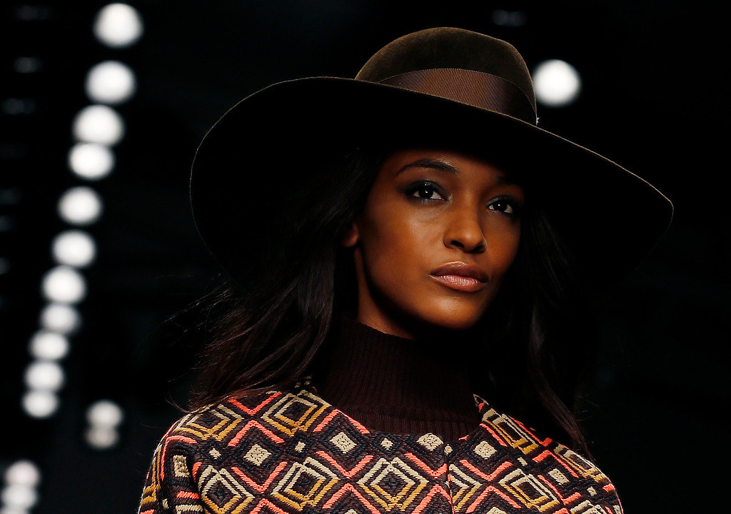 . Model Jourdan Dunn presents a creation from the Issa Autumn/Winter 2013 collection during London Fashion Week February 16, 2013. REUTERS/Olivia Harris