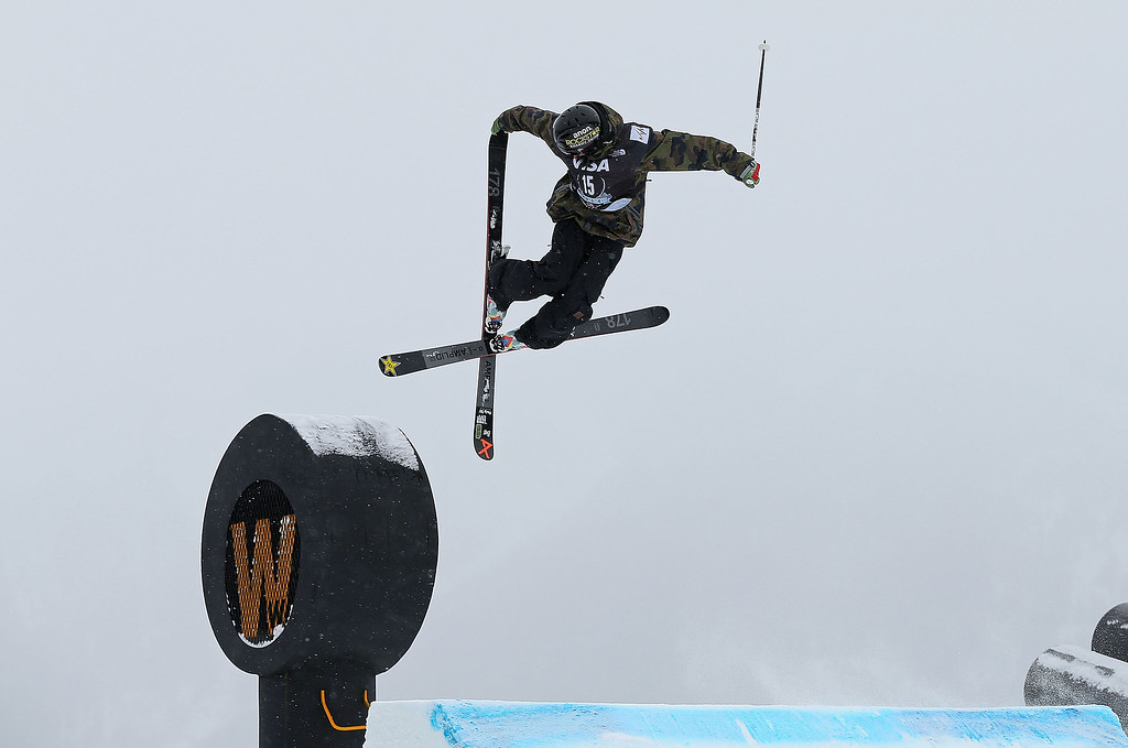 . COPPER MOUNTAIN, CO - DECEMBER 21:  Jesper Tjader of Sweden competes during finals for the mens FIS Ski  Slopestyle World Cup at U.S. Snowboarding and Freeskiing Grand Prix on December 21, 2013 in Copper Mountain, Colorado.  (Photo by Mike Ehrmann/Getty Images)