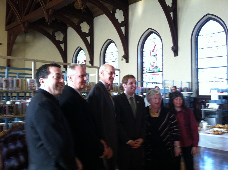 City Councilor Aaron Vega (member of the Library Renovation Committee), HPLC Board President Terry Plum, U.S. Congressman John Olver, Mayor Alex Morse, Helene Florio (representing State Senator Michael Knapik), and Library Director María Pagán.  January 30, 2012.