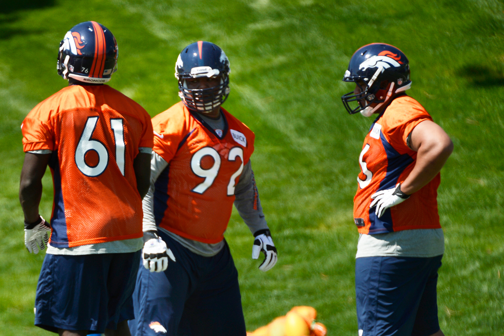 . # 1 draft pick defensive tackle # 92 Sylvester Williams at Broncos rookie minicamp at the Broncos Dove Valley facility May 10, 2013 Centennial, Colorado. (Photo By Joe Amon/The Denver Post)