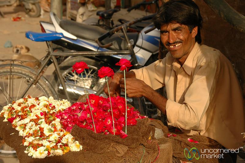 Flower Vendor in the Market of Bikaner, India